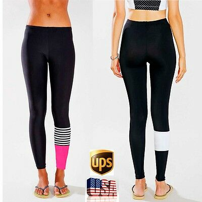 Fashion Womens Yoga Running Pants Compression Leggings Workout Gym Fitness L140