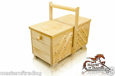 Great 36cm Decorated Natural Wooden Handcrafted Sewing Jewellery Box