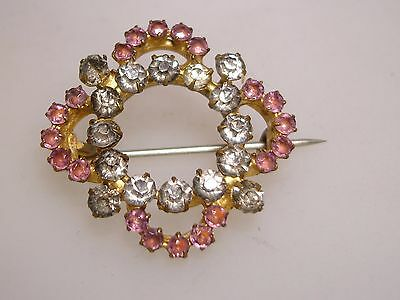 Beautiful Antique Victorian 1880-90's Gold Washed Foiled Rhinestone Pin/brooch!