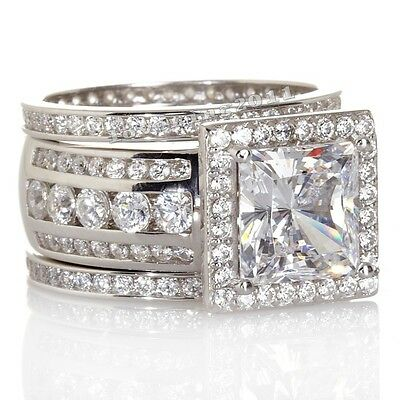 Handmade Women Engagement Jewelry Topaz CZ 925 Silver 3 Wedding Band Ring Set