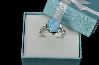 Larimar Beautiful Natural 10X12mm W/Topaz Solid .925 Sterling Silver Ring Size 6