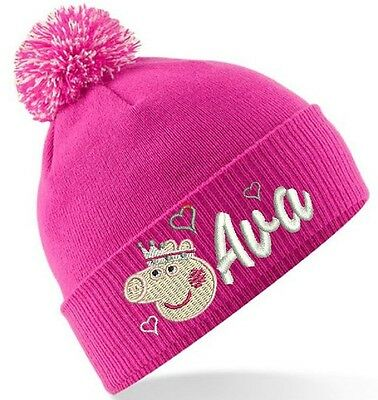 Kids Peppa Pig Design Winter Bobble Hat Personalised Embroidered With Any Name!