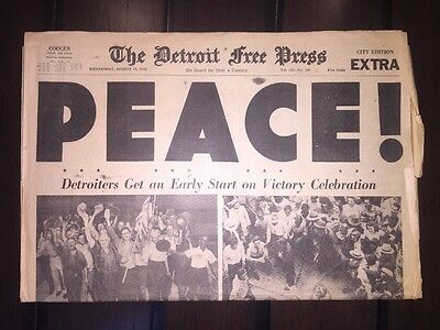 """VTG DETROIT FREE PRESS WWII ENDS """"PEACE"""" Aug 15 1945 NEWSPAPER City Edition"""