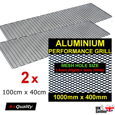 2 x Black Aluminium Racing Grille Net Vent Race Car Tuning 40x100cm Mesh 3,5x5mm