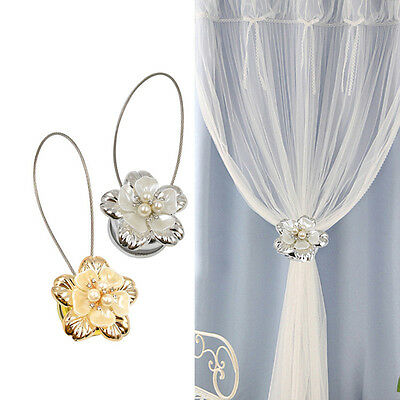 1 Pc Pearl Flower Curtain Buckle Curtain Curtain Tieback Drapery Holder Magnetic