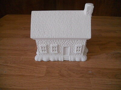 C-0196 Ceramic Bisque Ready to Paint Christmas Village House Stone House
