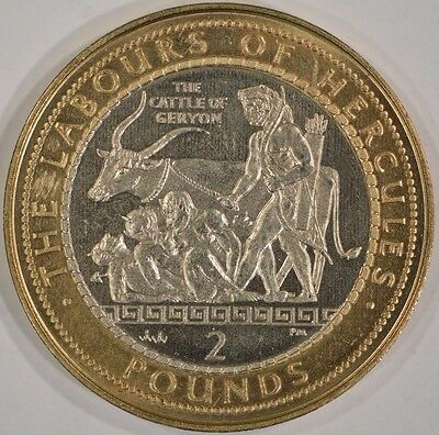 2000-AA Gibraltar 2 Pounds Labours of Hercules Cattle of Geryon Rare!