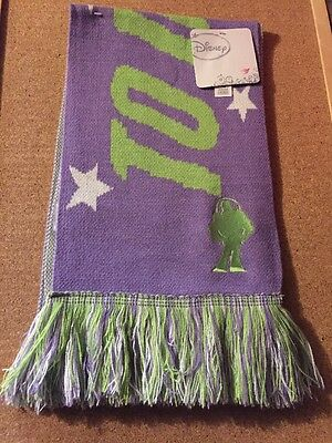 Nwt,disney Buzz Lightyear Scarf,to Infinity And Beyond,purple,green & White