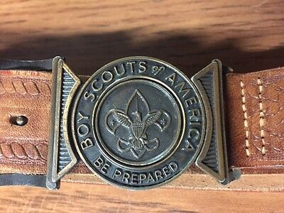 Collectible Vintage Boy Scout Tooled Leather Belt w/Interlocking Buckle 70's