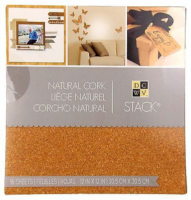 "Stack Natural Cork Book 16 Sheets 12""x12"" Crafts DCWV Wedding Invitations Favors"