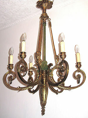 kronleuchter l ster antik putten bronze messing jugendstil lampe alt chandelier eur 177 00. Black Bedroom Furniture Sets. Home Design Ideas