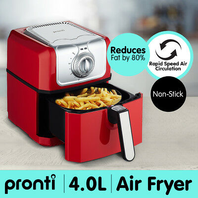 Pronti 4.0L Deep Air Fryer Kitchen Healthy Rapid Cooker Low Fat Oil Free Red