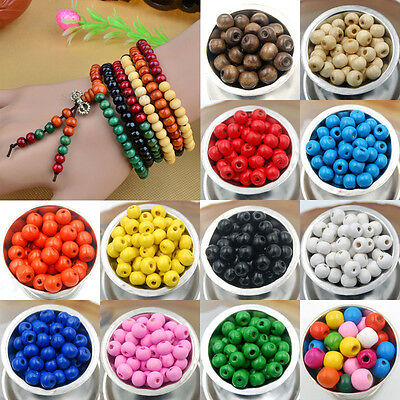300pcs DIY Round Wood Ball Spacer Loose Beads 8mm For Necklace Bracelet Making