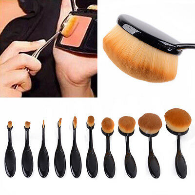 10PCS Makeup Oval Cream Puff Cosmetic Toothbrush Shaped Power Foundation Brushes