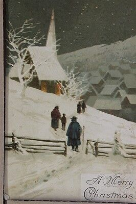 """ANTIQUE 1910's CHRISTMAS POSTCARD """"Walking To Church In Snow"""" Posted"""