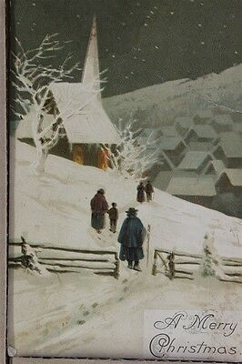 "ANTIQUE 1910's CHRISTMAS POSTCARD ""Walking To Church In Snow"" Posted"