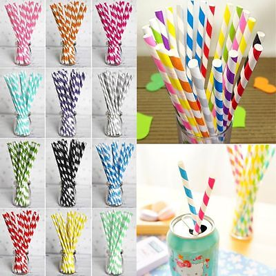 25/50/100pcs Striped Biodegradable Paper Drinking Straws Birthday Wedding Party