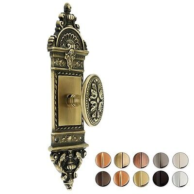 French Solid Brass Door Set With Decorative Oval Knobs ~ 7 Finishes ~New! Ds02