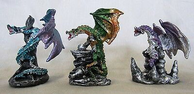 Miniature Dragons Statue Fantasy Mythical Gothic Magic Figure Ornament Set 3 -C