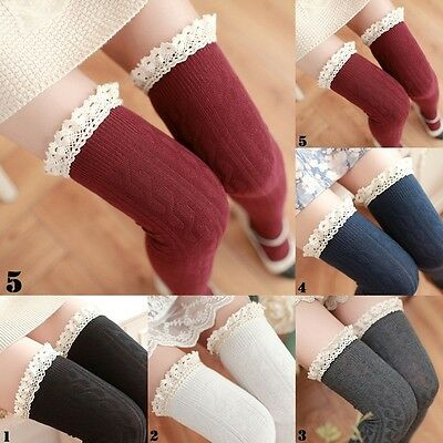 Womens Lace Warm Knit Over Knee Thigh Stockings High Long Socks Pantyhose Tights