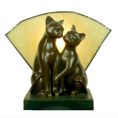 Twin Cat Art Deco Table Lamp Light With Amber Glass - Will Ship Australia Wide