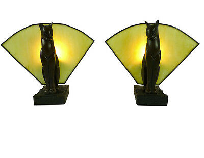 Pair Of Cat Art Deco Table Lamps With Amber Glass - Will Ship Australia Wide