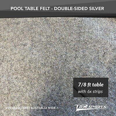 "Silver Wool Double Sided Pool Snooker Table Felt Cloth + 6x Felt Strip for 7""/8"""