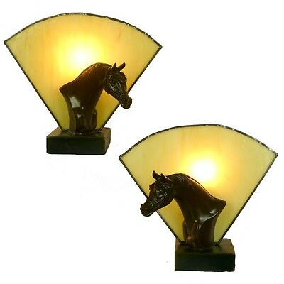 Pair Of Horse Art Deco Table Lamps With Amber Glass - Will Ship Australia Wide