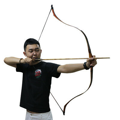 Archery Handmade Traditional Recurve Bow Wood Horsebow Longbow Hunting Practice