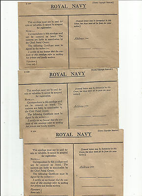 Ww2  Lot Of 3 Unused Royal Navy Envelope Great Britain Cover No Stamp