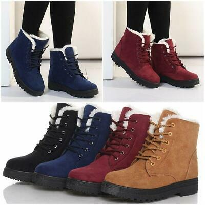 Chic Winter Warm Womens Snow Fur Lined Lace Up Flat High Ankle Boots Shoes JJ