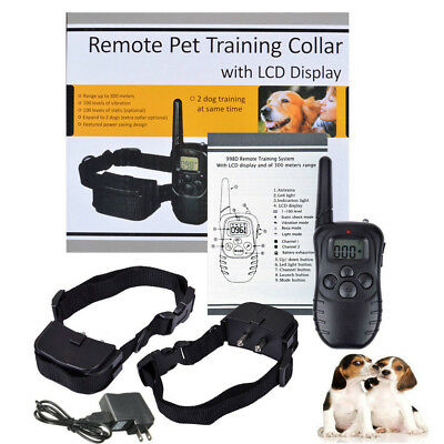 New LCD 100LV Level Shock Vibra Remote Dog Training Collar Rechargeable 300 Yard