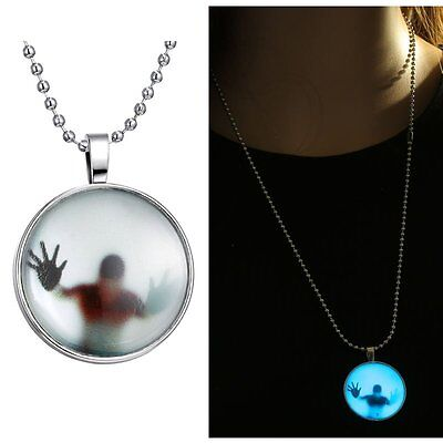 Hot Skull Head Steampunk Fire Glow In Dark Pendant Necklace Womens Sweater Chain