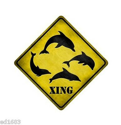 """16.5""""x 16.5 DOLPHINS XING Metal Crossing Sign 12""""x12 Square Wall Home Park Decor"""
