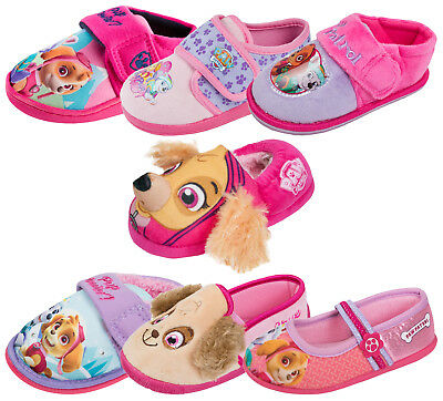 Girls Paw Patrol Slippers Character Skye Everest Flat Booties Mules Kids Size