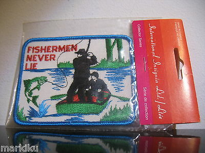 Vintage Fishing Fishermen never lie funny Patch Sew on International Insignia