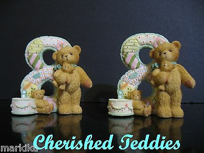 Cherished Teddies bear number 8 birthday age 116991 new in box with 2 figurines