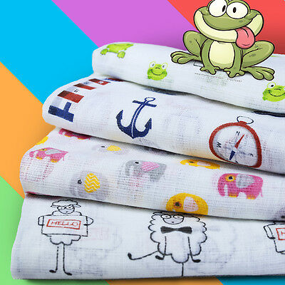 LARGE PRINTED MUSLIN BABY NAPPIES 100% COTTON NAPPY BIBS REUSABLE 70x80 NEW !