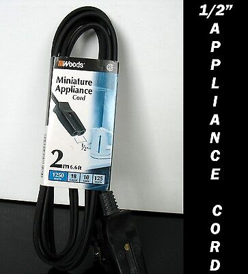 """New  Woods small Appliance cord  1/2"""" inch 1250 watts 10 amps 125 volts 6 feet"""