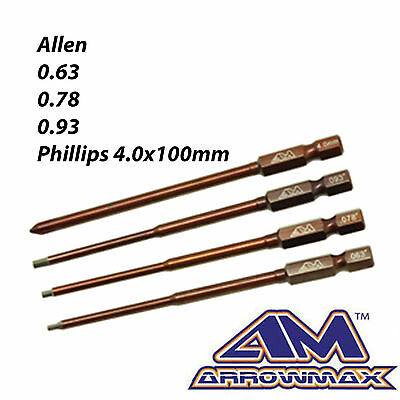Arrowmax AM500801 Imperial Power Tool Tip cased Set 4 Pieces Hex Wrench RC