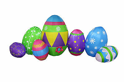 BZB Goods 8 Foot Long Inflatable Colorful Patterned Easter Eggs Decoration