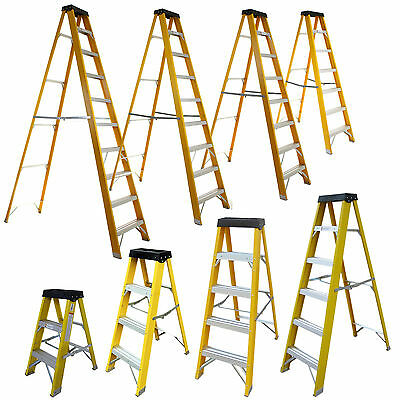 Electricians Heavy Duty Fibreglass Step Ladder 30000V 3 4 5 6 Tread Fibre Safety