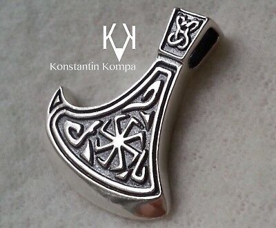 Solid Silver Sterling 925 AXE WITH KOLOVRAT AMULET Double Sided Ethnic
