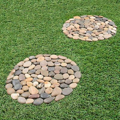2 x Pebble Stepping Stones Round Circular Garden Rock Slabs Lawn