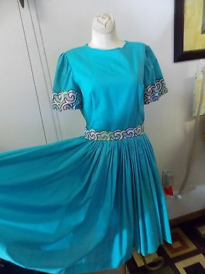 Vintage Square Dance Dress Turquoise / Aqua Blue Full Swing Skirt