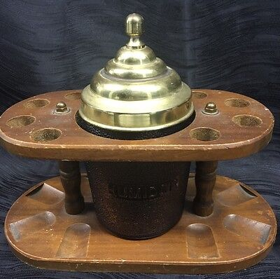 Vintage Wooden Pipe Stand With Duraglas Glass Humidor with Brass Top Tobacco