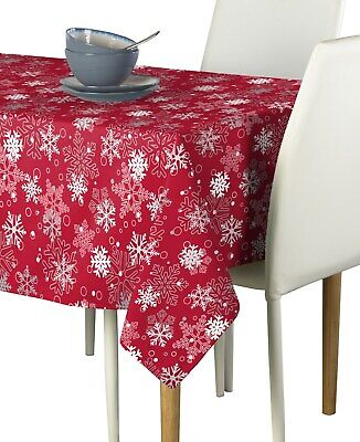 Red Winter Christmas Snowflakes Milliken Tablecloths - Assorted Sizes!