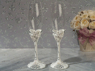 Personalized Elegant Rose Toasting Champagne Wedding Flutes Glasses Reception