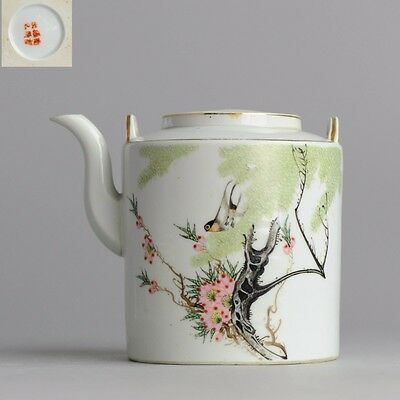 Lovely 1912-1949 Republic Period Chinese Porcelain Tea pot Birds & Calligraphy