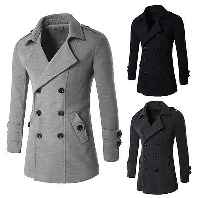 Men's Thicken Double Breasted Peacoat Long Men Jacket Winter Formal Dress Top
